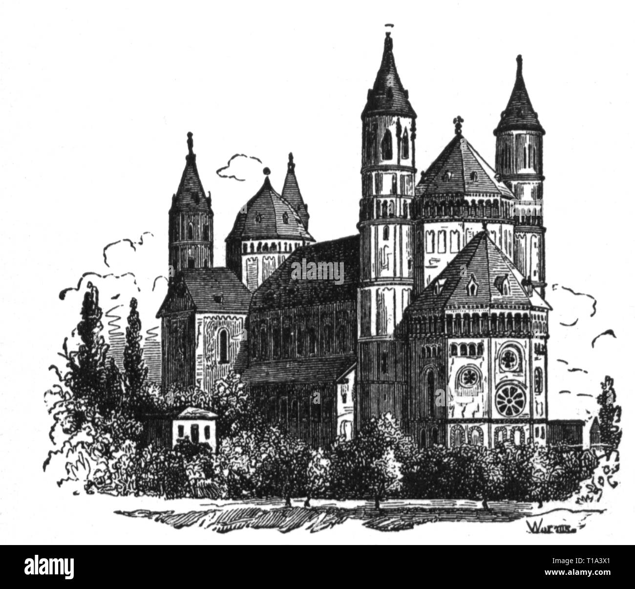 geography / travel historic, Germany, cities and communities, Worms, churches, cathedral Saint Peter, exterior view, 12, Artist's Copyright has not to be cleared - Stock Image