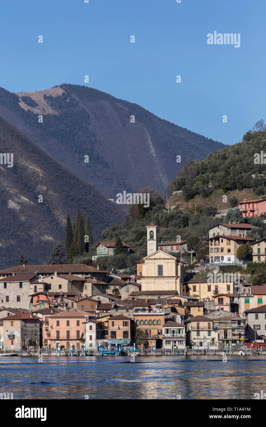 The town of Peschiera Maraglio on Monte Isola island, Lake Iseo, Lombardy, Italy - Stock Image