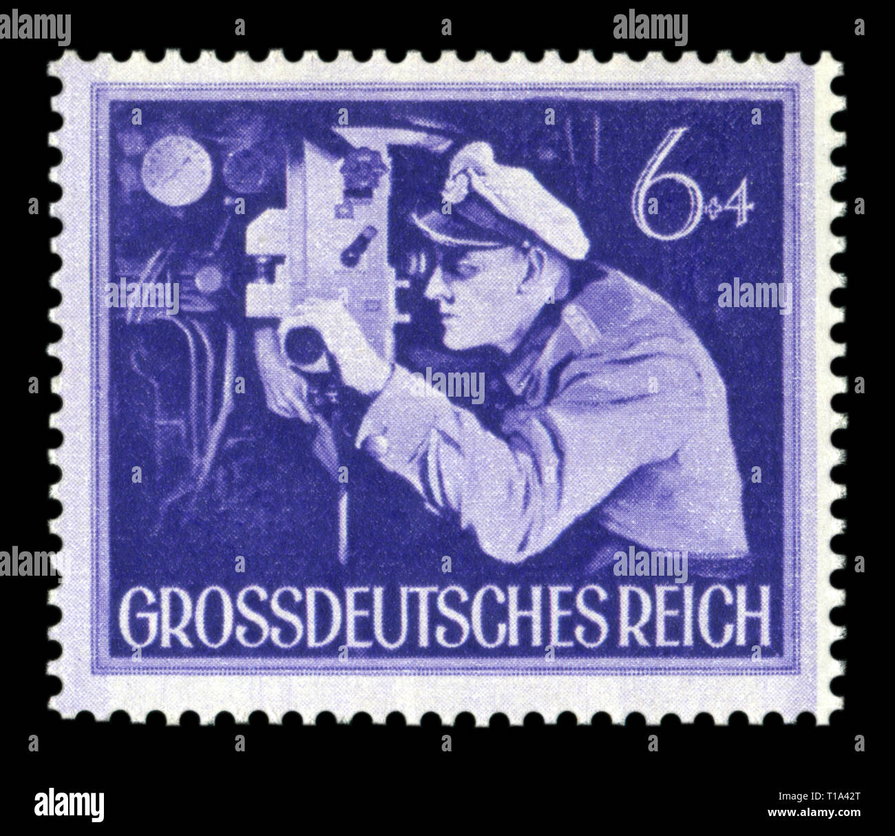 German historical stamp: The commander of the submarine at the periscope. The Army Of The third Reich. Day of commemoration of the fallen soldiers, 44 - Stock Image
