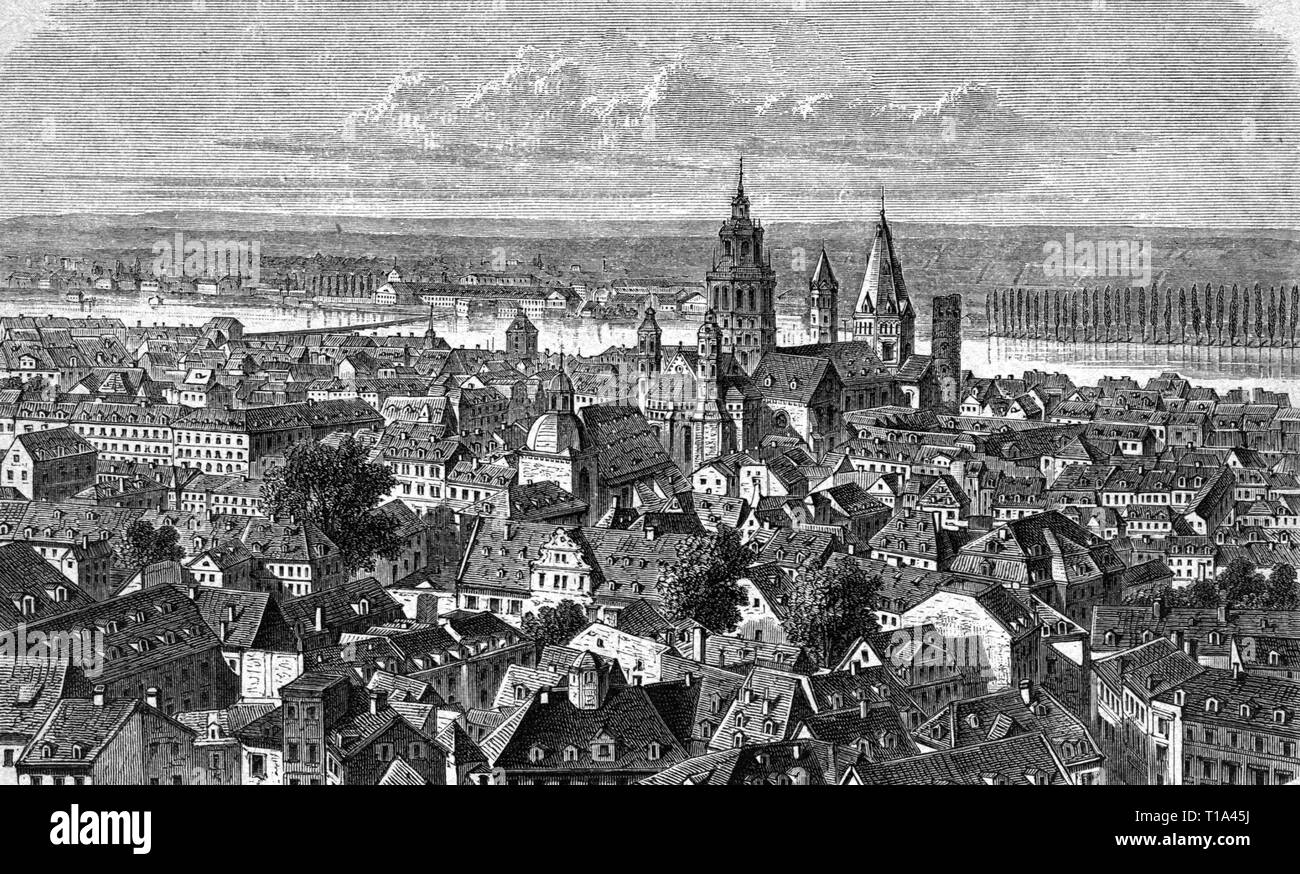 geography / travel historic, Germany, cities and communities, Mainz, city view, wood engraving, 1893, Artist's Copyright has not to be cleared - Stock Image