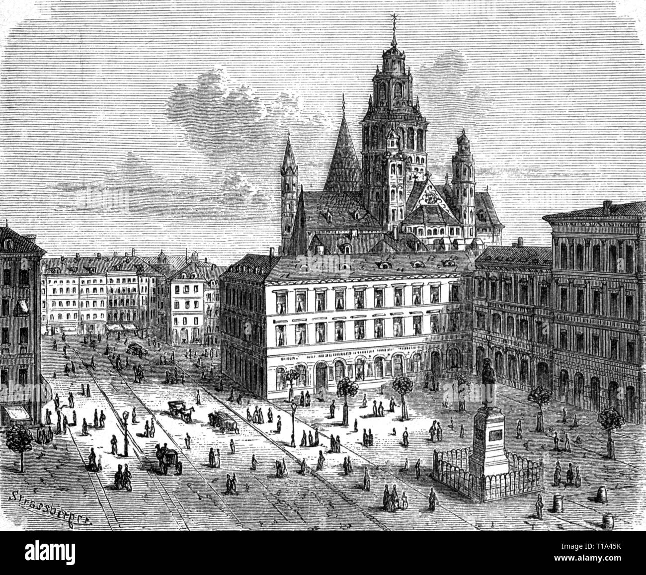 geography / travel historic, Germany, cities and communities, Mainz, squares, Gutenbergplatz, view, wood engraving, 1882, Artist's Copyright has not to be cleared - Stock Image
