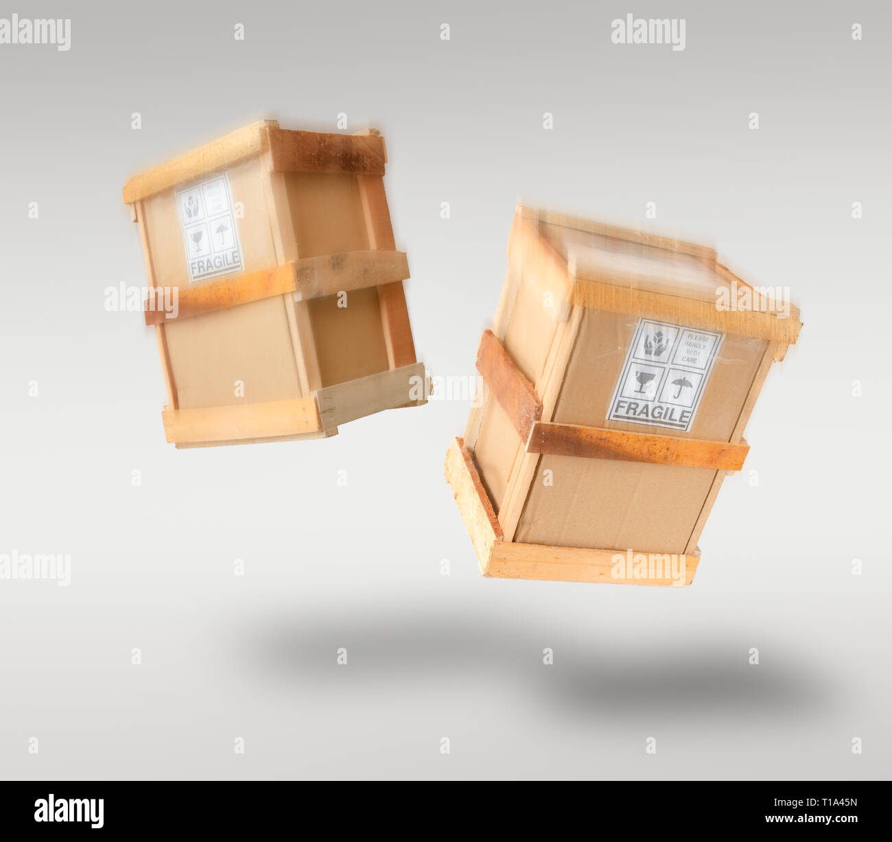 Fragile boxes free falling through the air - logistics & e