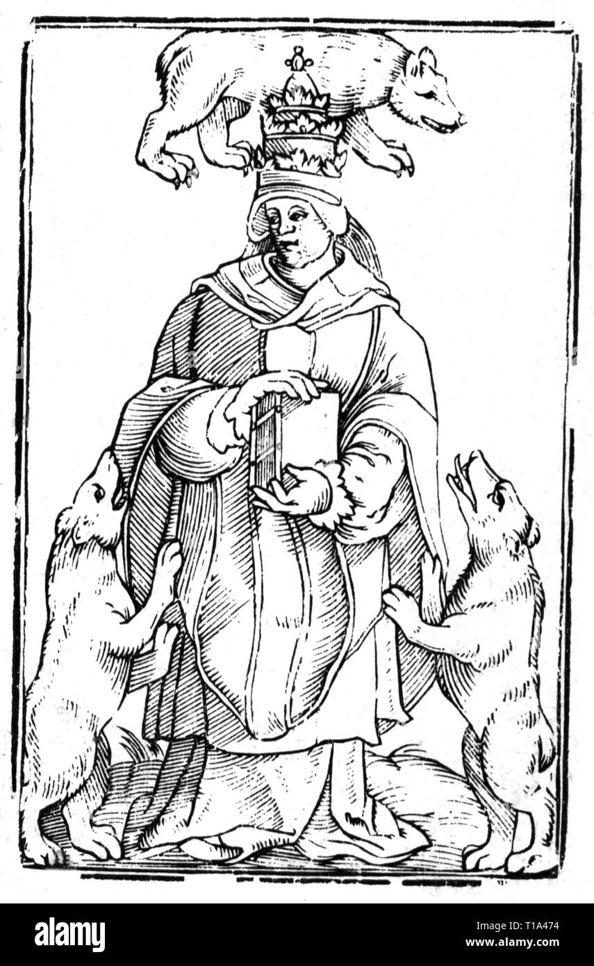 religion, Christianity, allegory, papacy, woodcut, by Joachim Lederlin (1551 - after 1608), from: Johann Wolff, 'Lectionum memorabilium centenarii XVI', print: Leonhard Rheinmichel, Lauingen, 1600, Additional-Rights-Clearance-Info-Not-Available - Stock Image