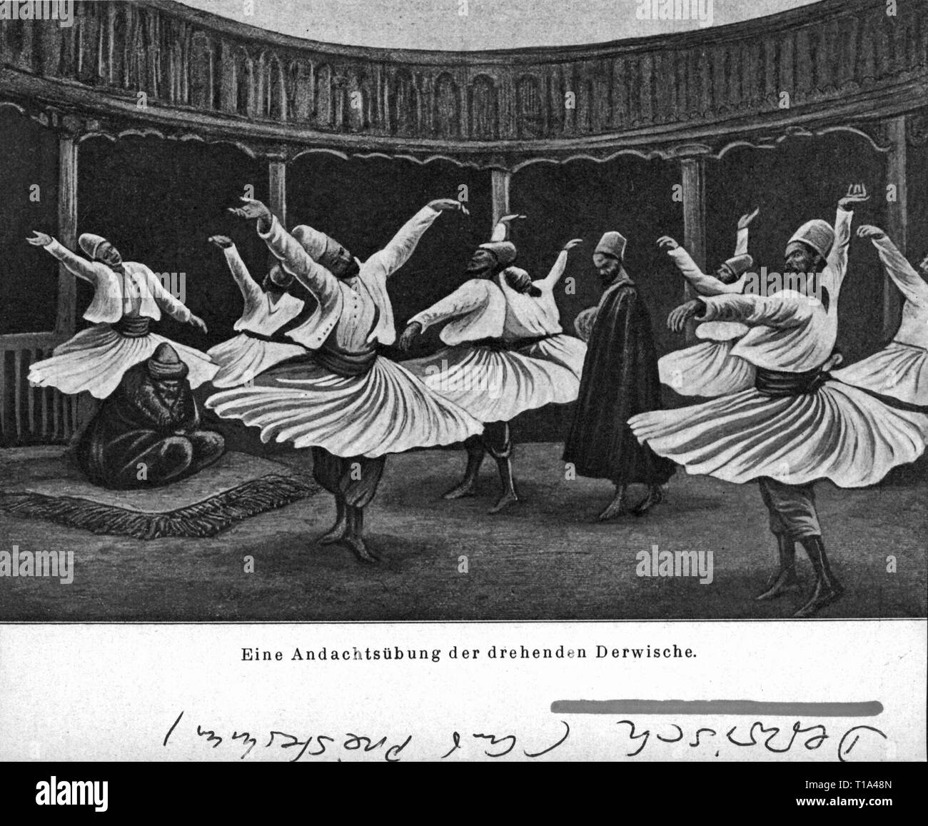 religion, Islam, dervishes during prayers, circa 1900, Additional-Rights-Clearance-Info-Not-Available - Stock Image