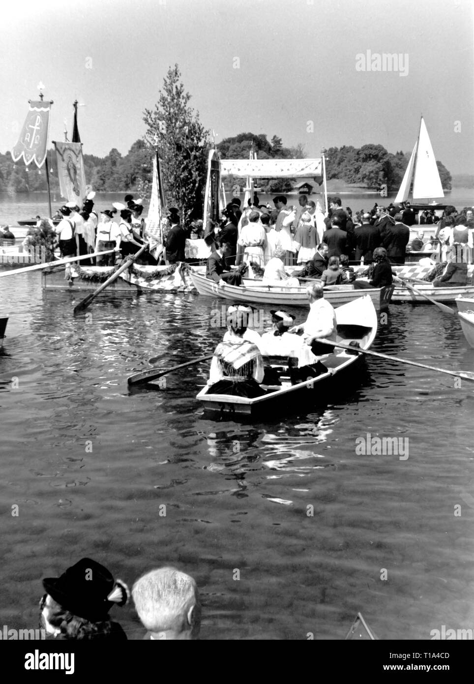 religion, Christianity, ecclesial feasts, lake procession on Corpus Christi day, Staffelsee, circa 1970, Additional-Rights-Clearance-Info-Not-Available - Stock Image