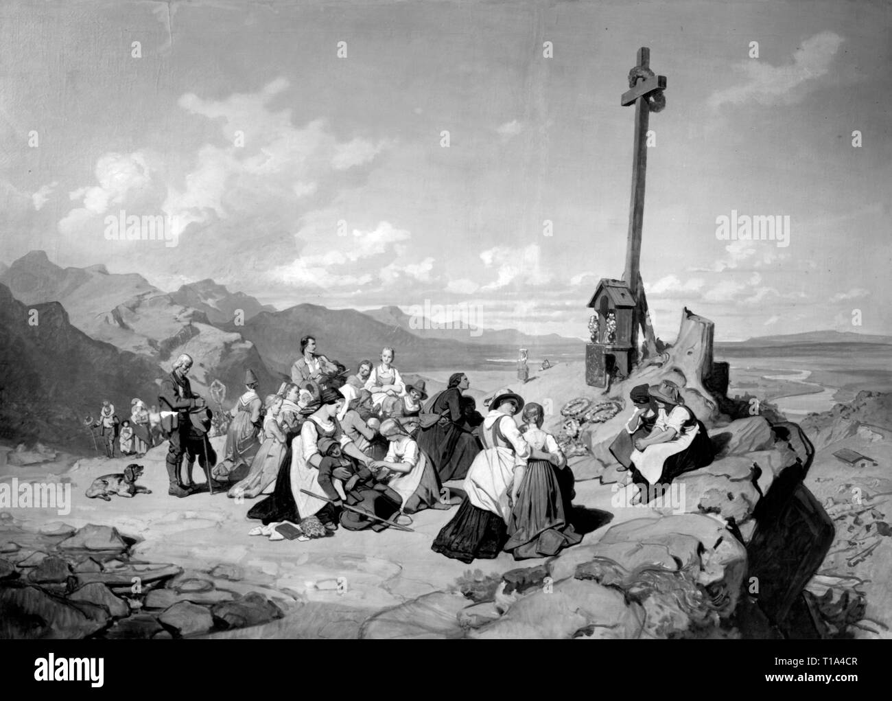 religion, Christianity, pilgrimage, pilgrimage in the mountains, painting, by Philipp von Foltz (1805 - 1877), 19th century, Bavarian State Collections of Fine Arts, Artist's Copyright has not to be cleared - Stock Image