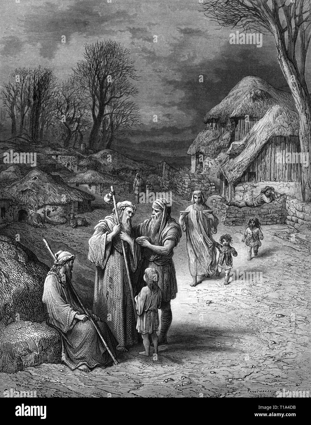 religion, Christianity, pilgrimage, hospitableness of barbarians towards pilgrims, based on Gustave Dore (1832 - 1883), wood engraving, by Francois Pannemaker, A. Doms, late 19th century, Artist's Copyright has not to be cleared - Stock Image