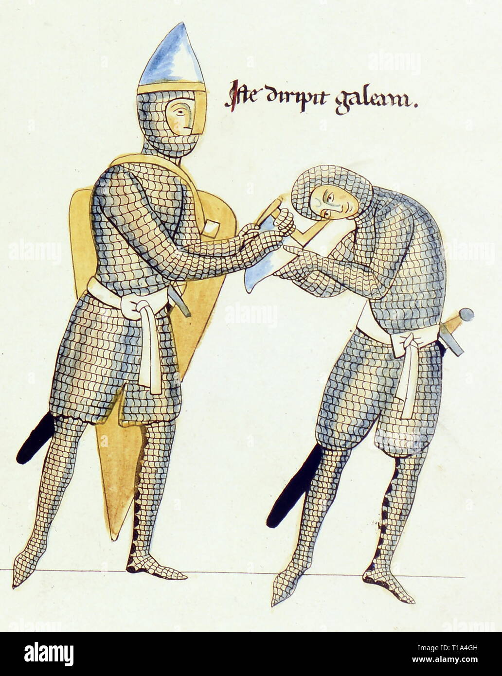 religion, biblical scene, parable of conflict of the stinginess and the largesse, coloured copper engraving by Christian Moritz Engelhardt, 1818, detail, based on miniature, Hortus deliciarum of the Herrad of Landsberg, circa 1180, Bavarian National Museum, Munich, Artist's Copyright has not to be cleared - Stock Image