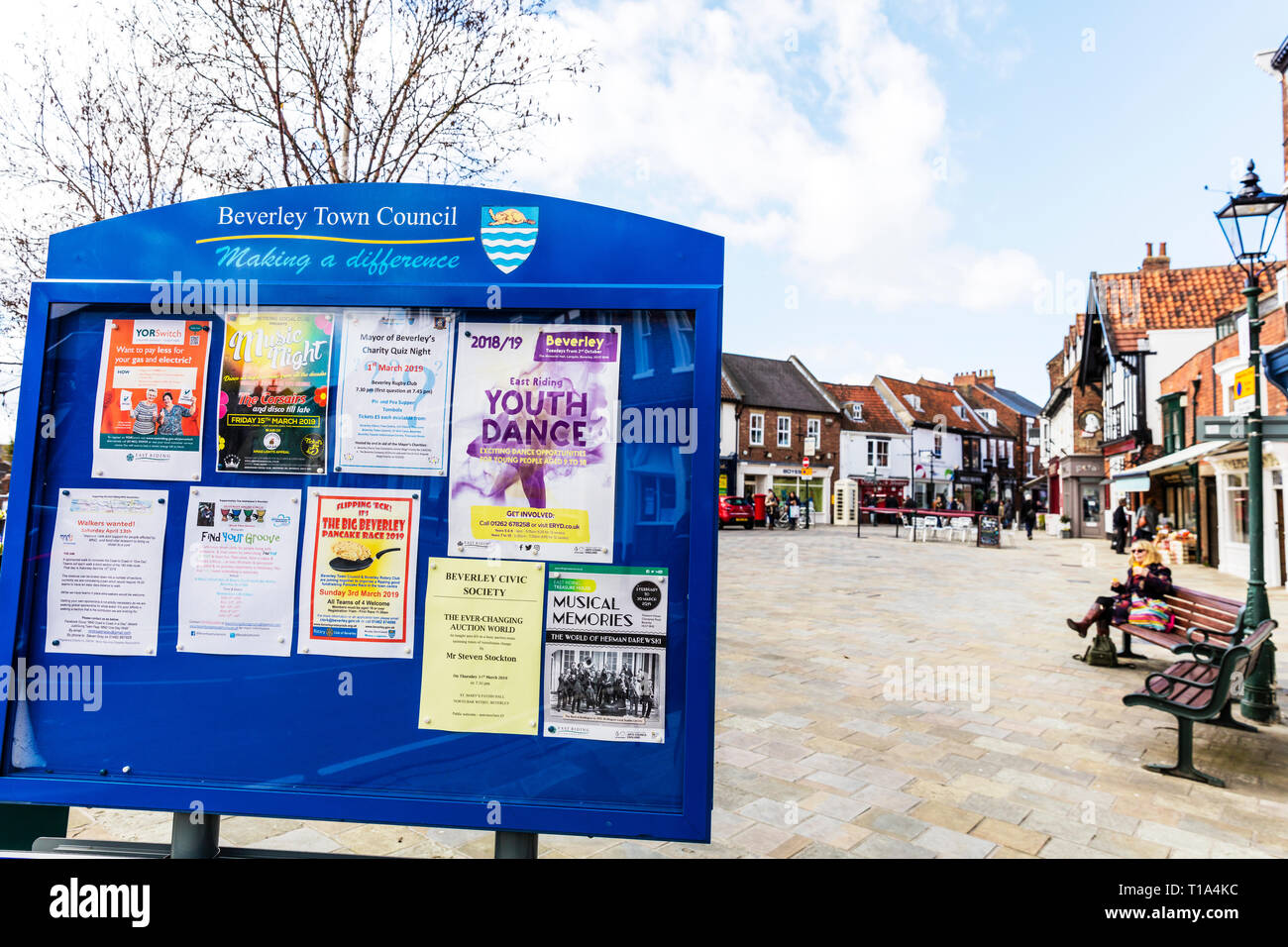 Beverley Town Council sign, Yorkshire UK England, Beverley Town, Beverley Town notice board, Notice board, town notice board, notice boards, Beverley - Stock Image