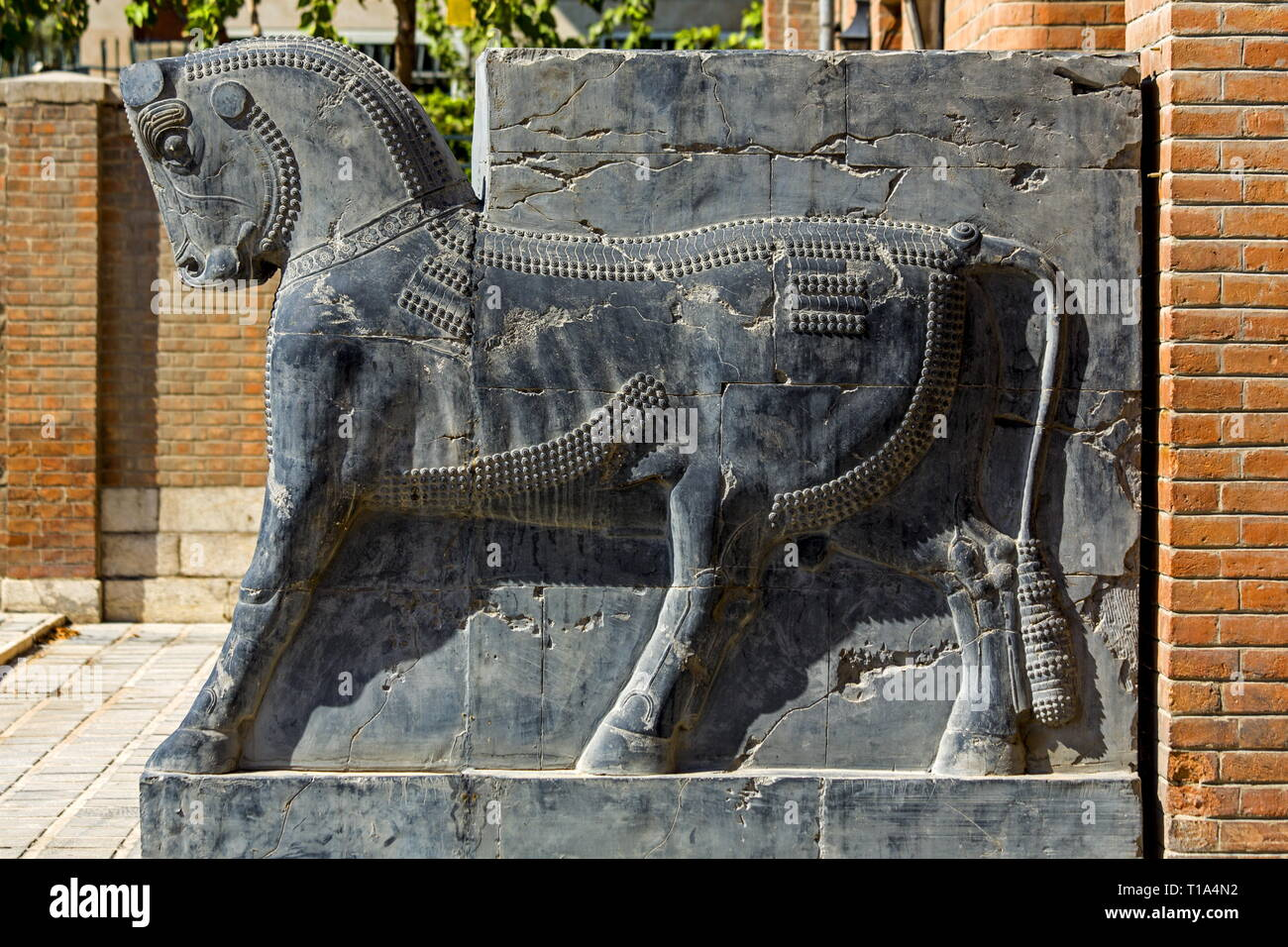 geography / travel, National Museum, Tehran, relief of a bull from the Achaemenid era, Additional-Rights-Clearance-Info-Not-Available - Stock Image