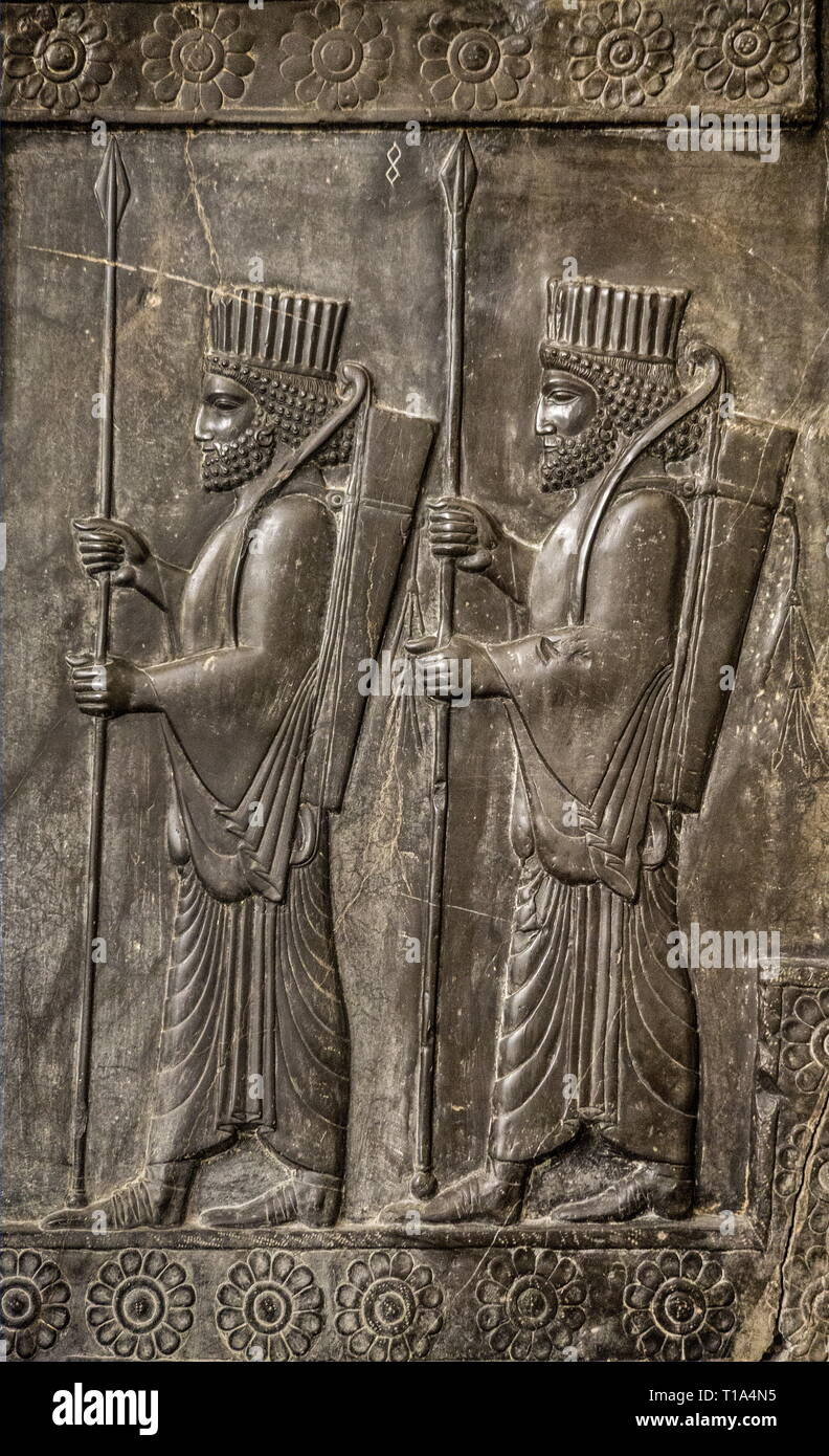 geography / travel, National Museum, Tehran, warrior, relief, originally Persepolis, delegations of the stairways, Additional-Rights-Clearance-Info-Not-Available - Stock Image