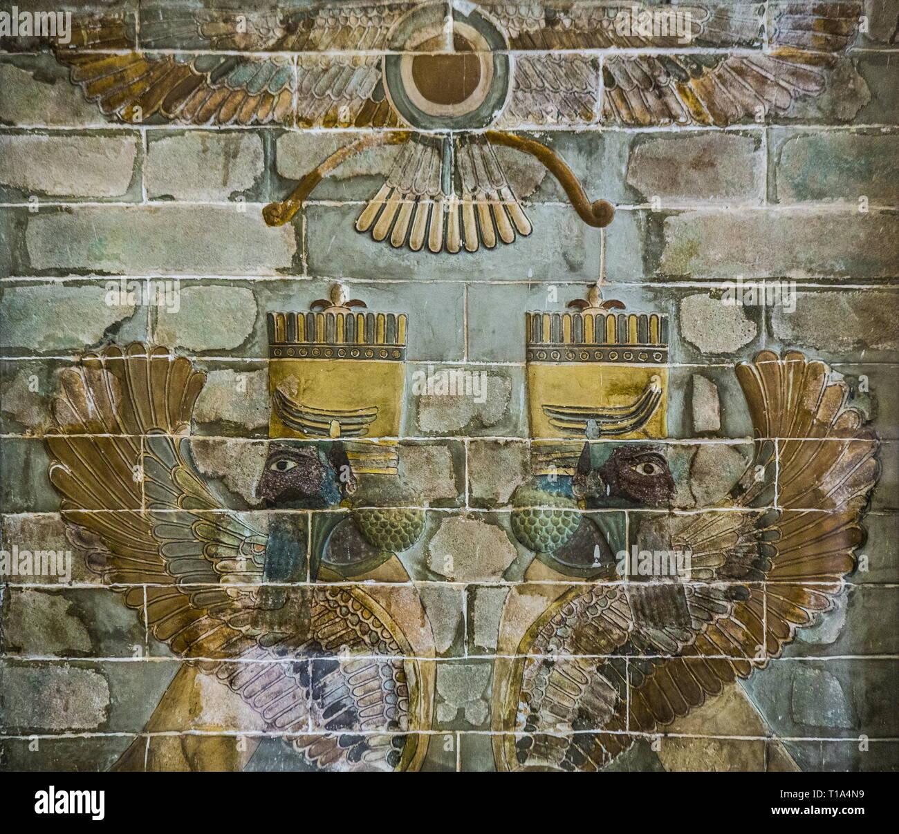 geography / travel, National Museum, Tehran, glazed bricks, originally Susa, Additional-Rights-Clearance-Info-Not-Available - Stock Image