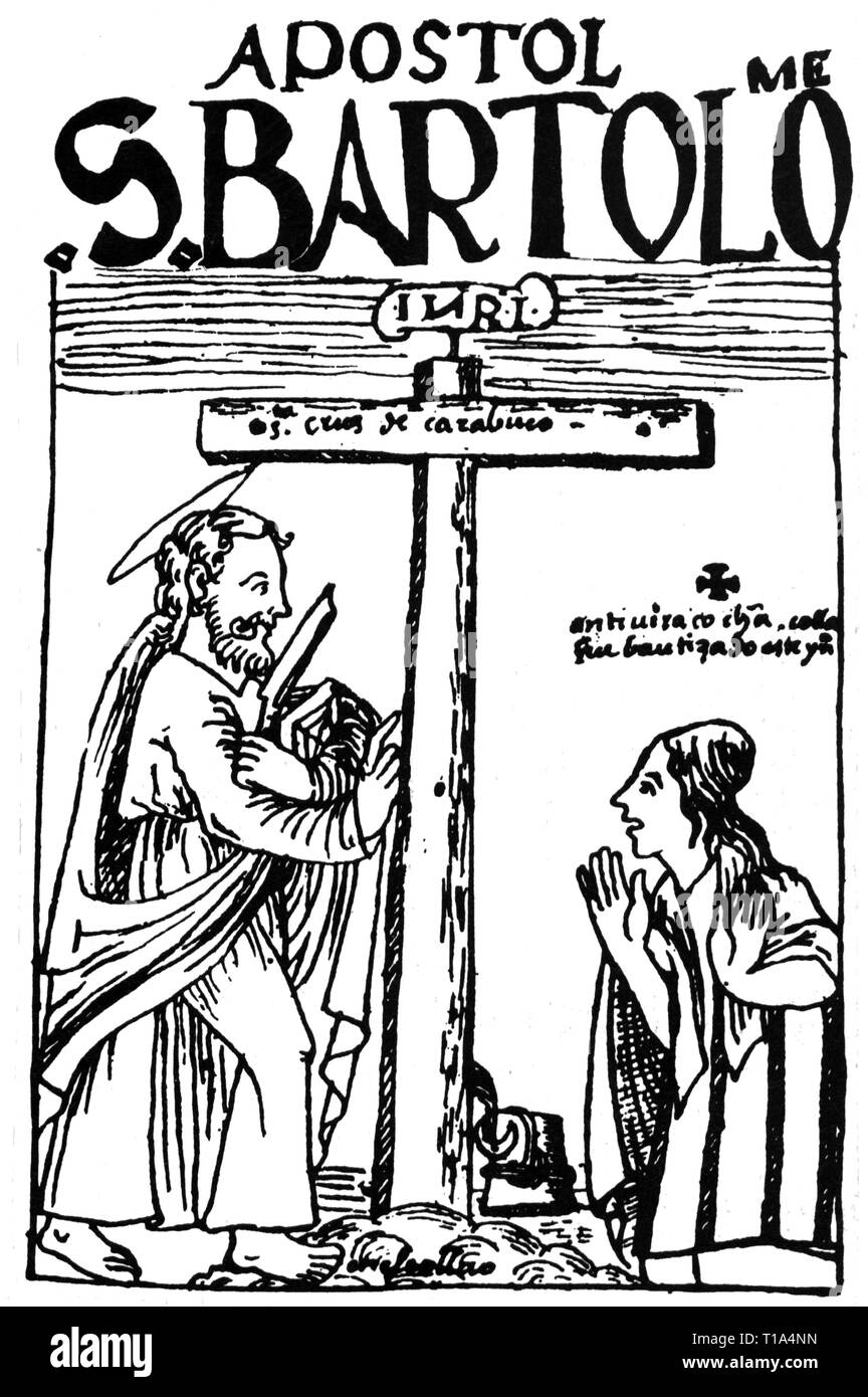 religion, Christianity, saint, Bartholomew with the cross of Carabuco, drawing, from: Felipe Waman Puma de Ayala, 'Nueva cronica y buen gobierno', 1615, Artist's Copyright has not to be cleared - Stock Image