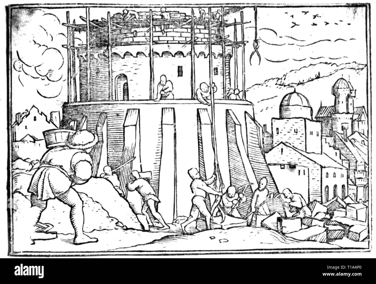 religion, biblical scene, Tower of Babel, drawing, by Hans Holbein the Younger (1497 / 1498 - 1543), 16th century, Artist's Copyright has not to be cleared - Stock Image