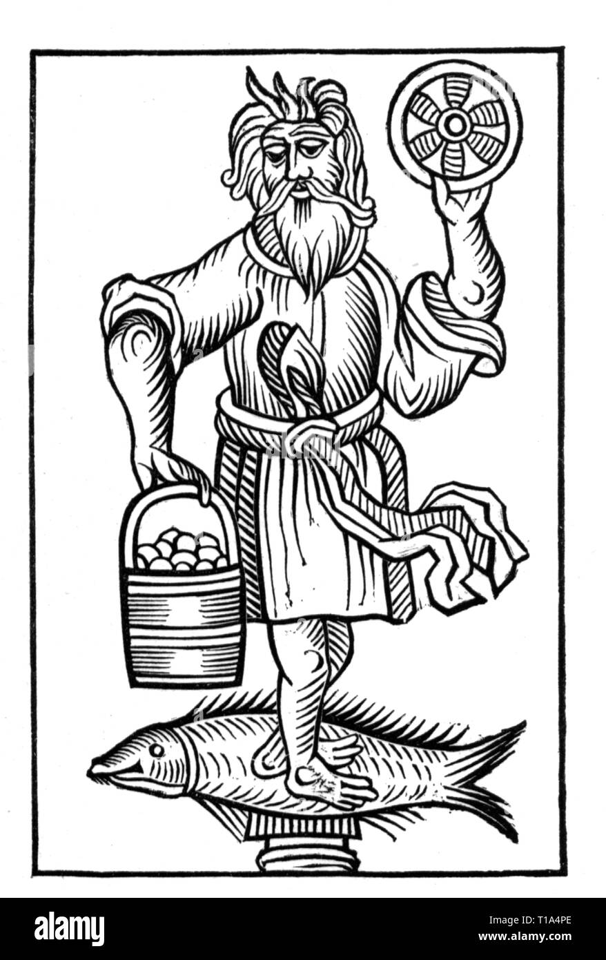 religion, ancient world, Krodo, woodcut, from: Hermann Stangefol (1575 - circa 1655), 'Annales Circuli Westphaliae', Cologne, 1656, Artist's Copyright has not to be cleared - Stock Image
