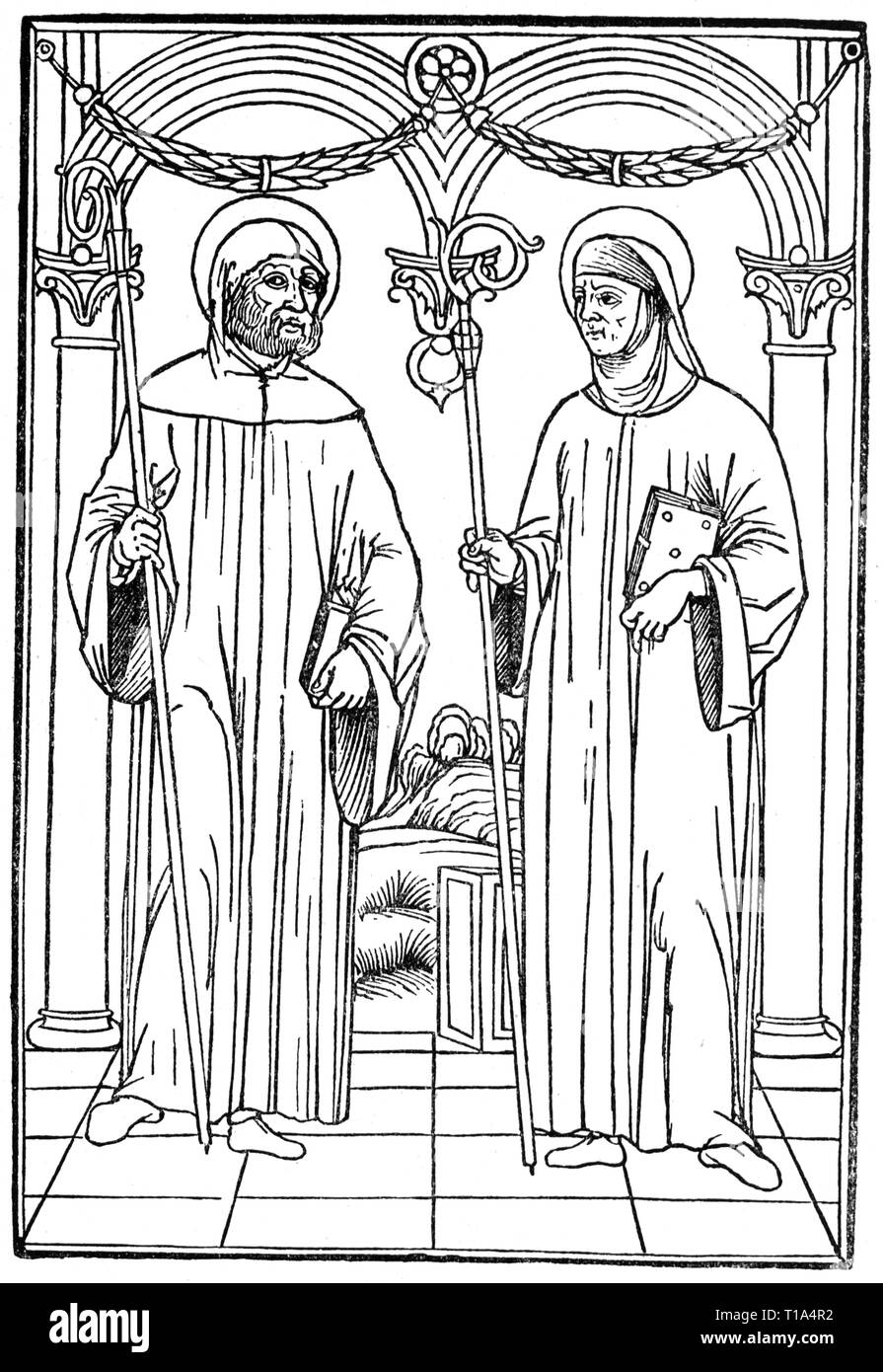 religion, ecclesiastic order, benedictine, two abbots, engraving, Venice, 1500, Artist's Copyright has not to be cleared Stock Photo