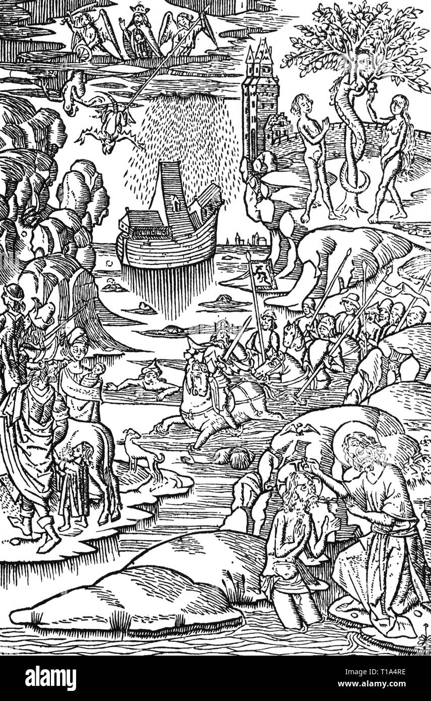 religion, biblical scene, history of the redemption, woodcut, from: 'Der Sonderentroest', print: Jacob Bellaert, Haarlem, 1484, Artist's Copyright has not to be cleared - Stock Image