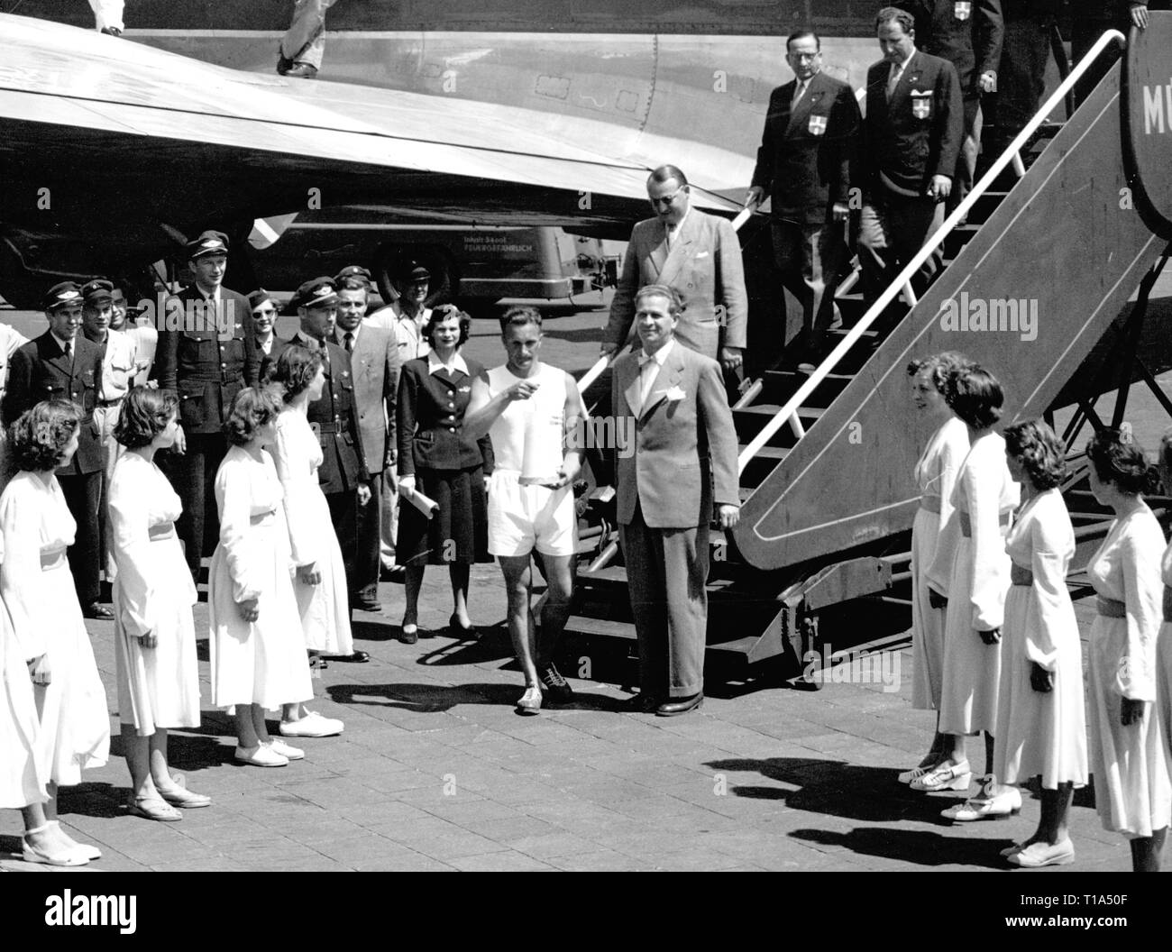 Olympic Games, 1972 Munich, arrival of the Olympic fire, airport Riem, Munich, 1972, Additional-Rights-Clearance-Info-Not-Available - Stock Image