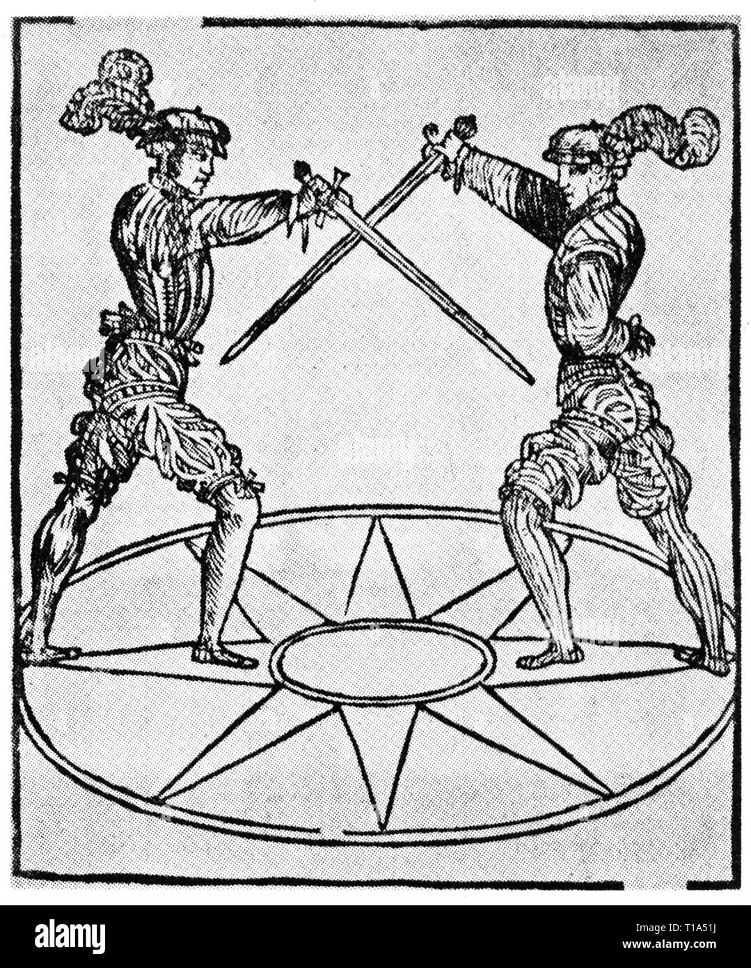 sports, fencing, fencing bout, woodcut, from: Achille Marozzo (1484 - circa 1550), Opera Nova, Modena, 1536, Additional-Rights-Clearance-Info-Not-Available - Stock Image
