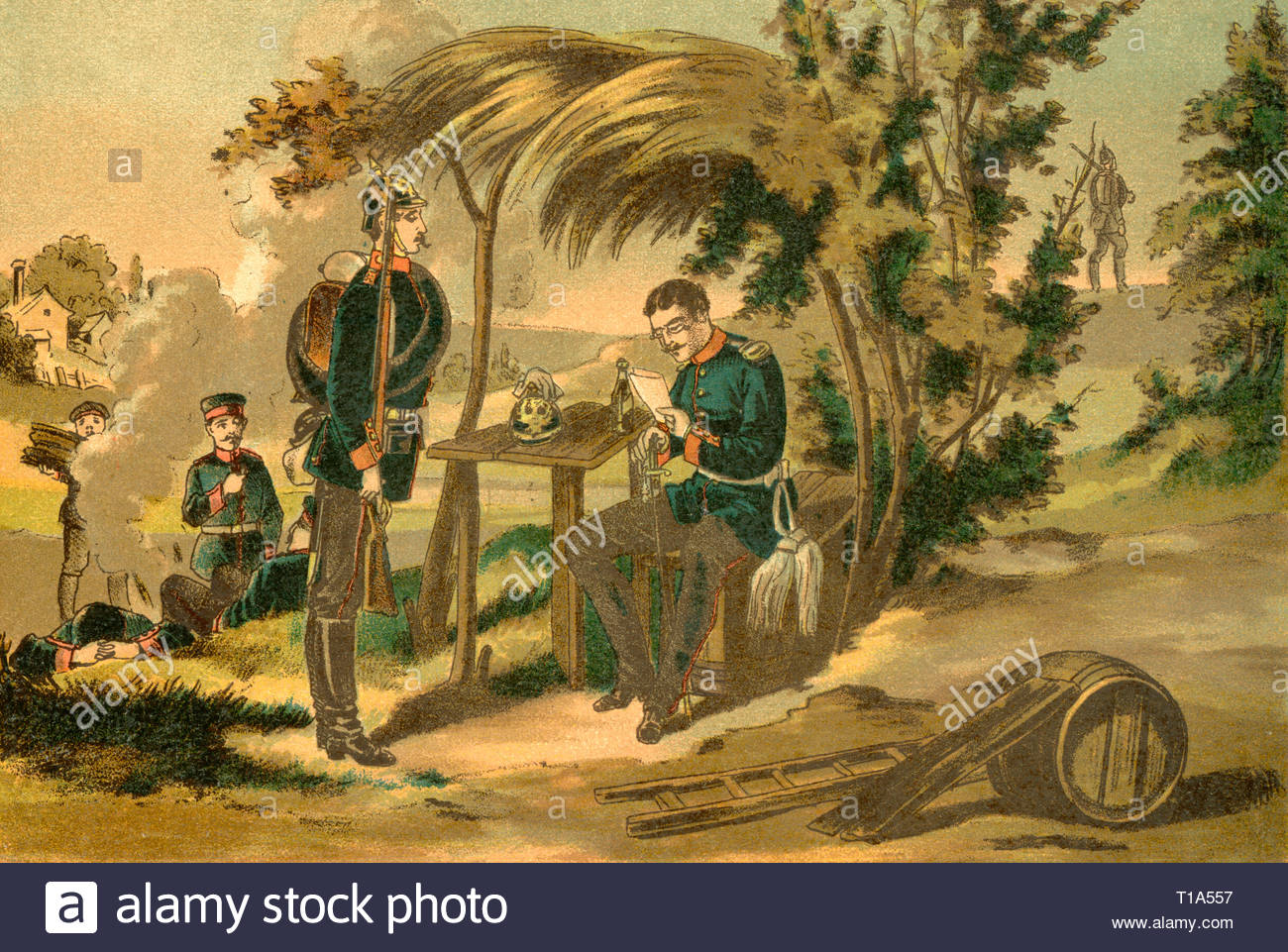 Germany, Thuringia, 2. Thuringian Infantry Regiment No. 32, coulered lithography from about 1890, Artist's Copyright must also be cleared - Stock Image