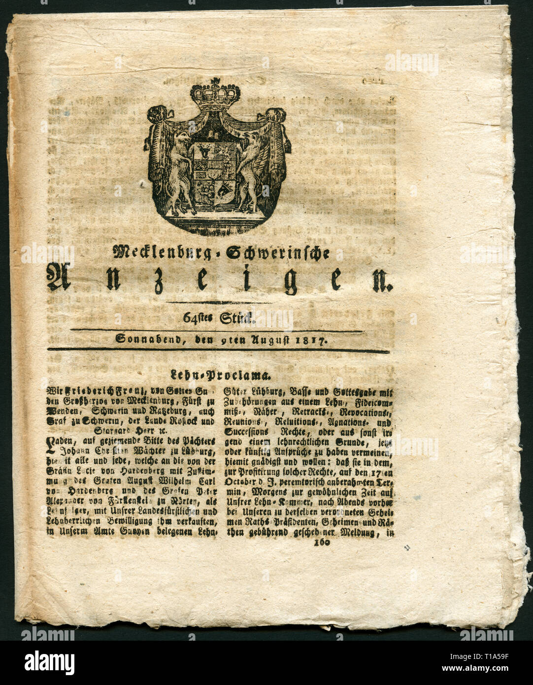 Germany, Mecklenburg West-Pomerania, historical newspaper with the title 'Mecklenburg-Schwerinsche Anzeigen', 64. edition, 9.8.1817, Additional-Rights-Clearance-Info-Not-Available - Stock Image