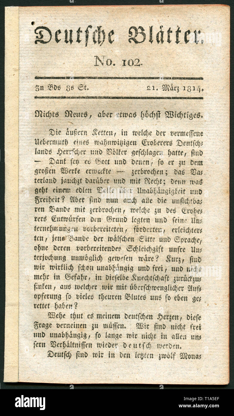 Germany, Leipzig, historical newspaper called: 'Deutsche Blätter ' (German papers), No. 102, 21.3.1814, published by Friedrich Arnold Brockhaus., Additional-Rights-Clearance-Info-Not-Available - Stock Image