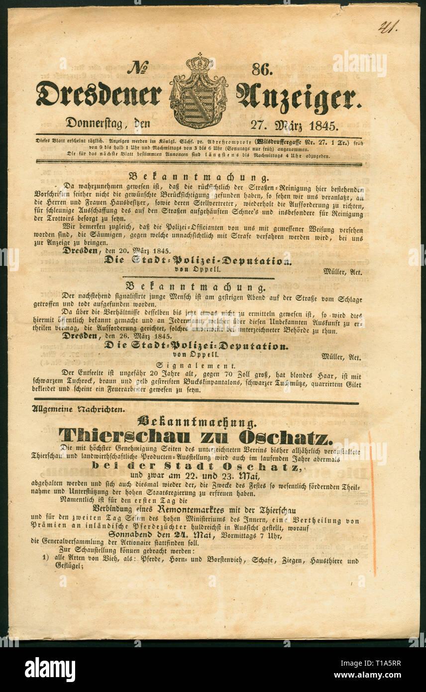 Germany, Saxony, Dresden, historical newspaper: 'Dresdener Anzeiger', No. 85, 27.03.1845., Additional-Rights-Clearance-Info-Not-Available - Stock Image