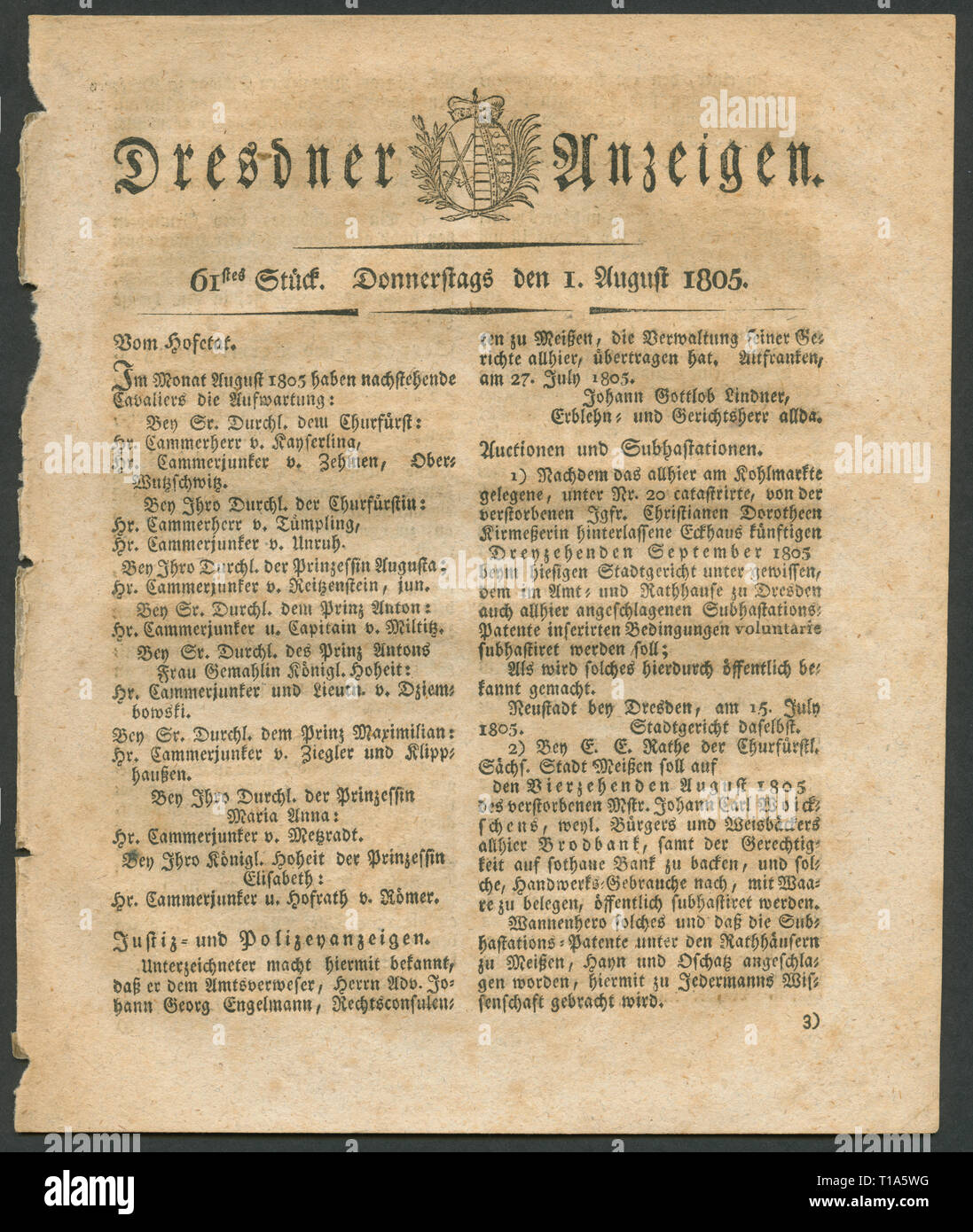 Germany, Saxony, Dresden, historical newspaper ' Dresdner Anzeigen', published 1.8.1805., Additional-Rights-Clearance-Info-Not-Available - Stock Image