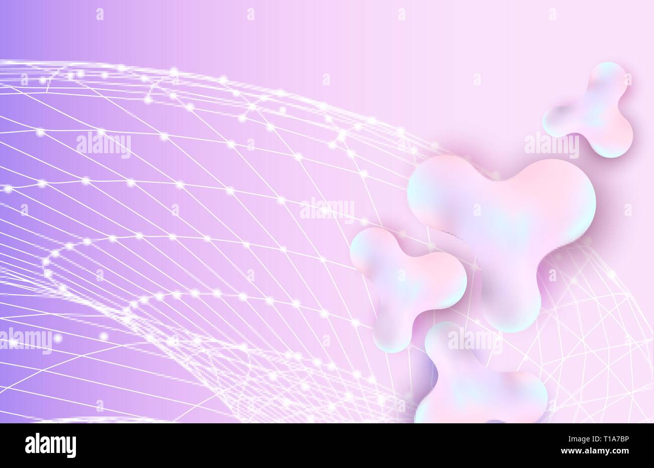 abstract 3d inkblots background with text space liquid bubbles vector illustration network concept drawing with polygonal lines and dots 3d gradient shapes backdrop composition wallpaper design T1A7BP