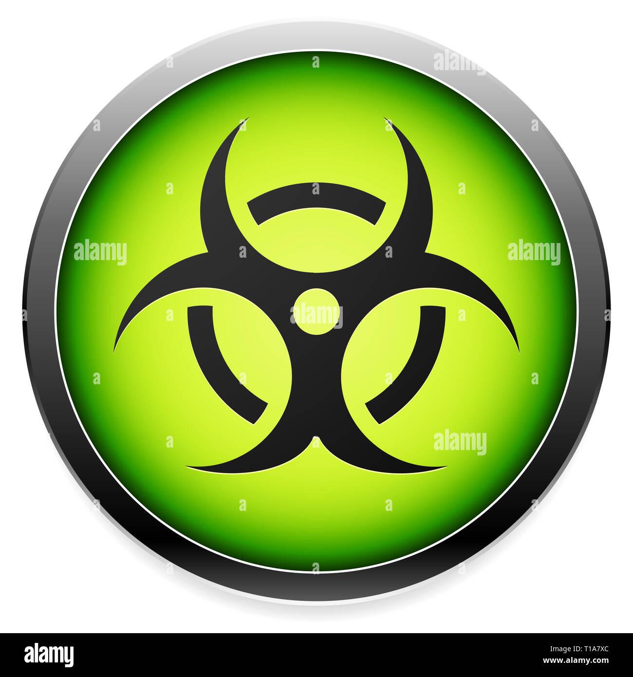 Quarantine, contamination, bio-hazard symbol, sign, icon in green. Vector - Stock Image