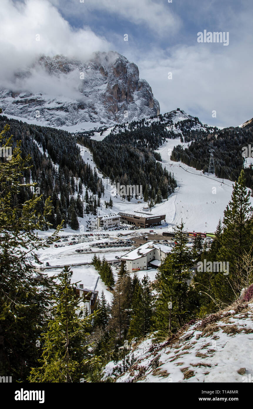The Sella Pass is a high mountain pass between the provinces of Trentino and South Tyrol in Italy. Stock Photo
