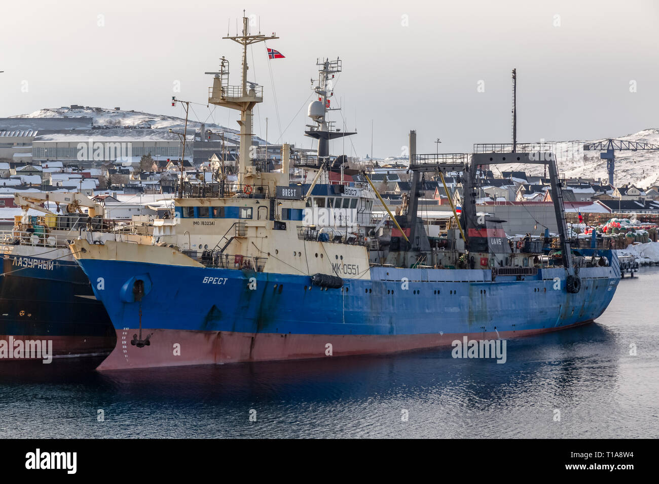 The fishing trawler Brest, from Russia, in port at Kirkenes in Northern Norway. - Stock Image
