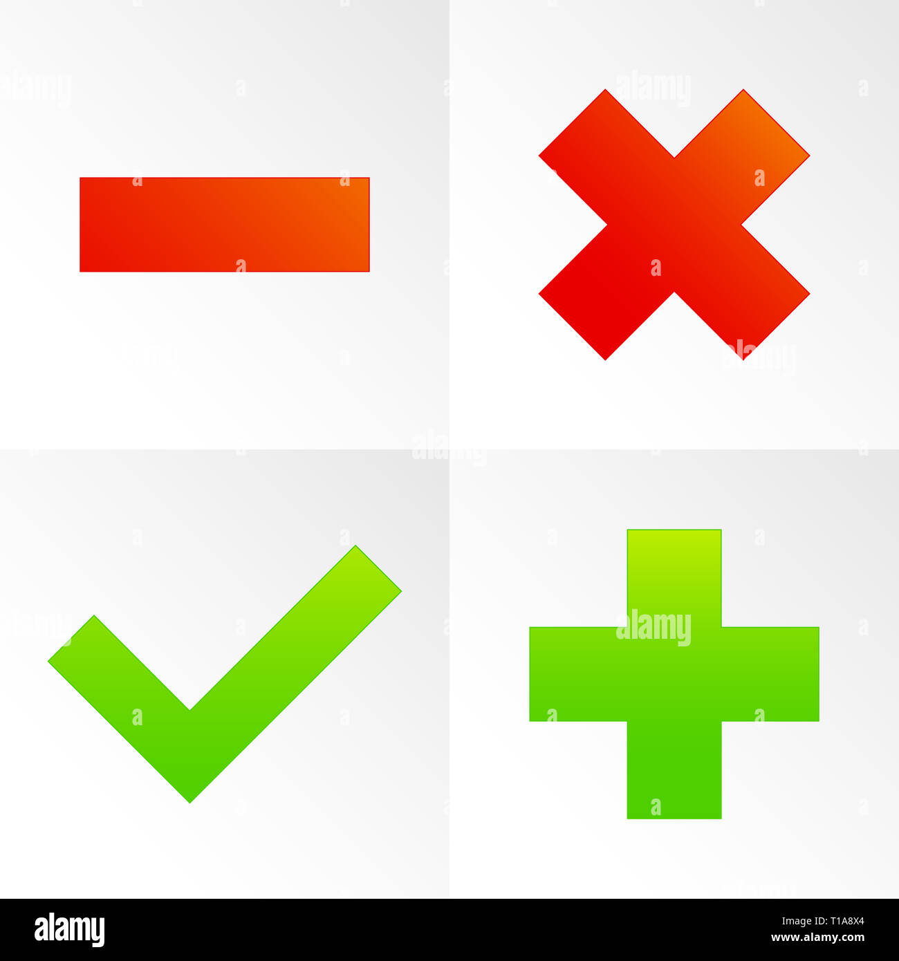 Check mark, cross, plus, minus sign set  vector Stock Photo