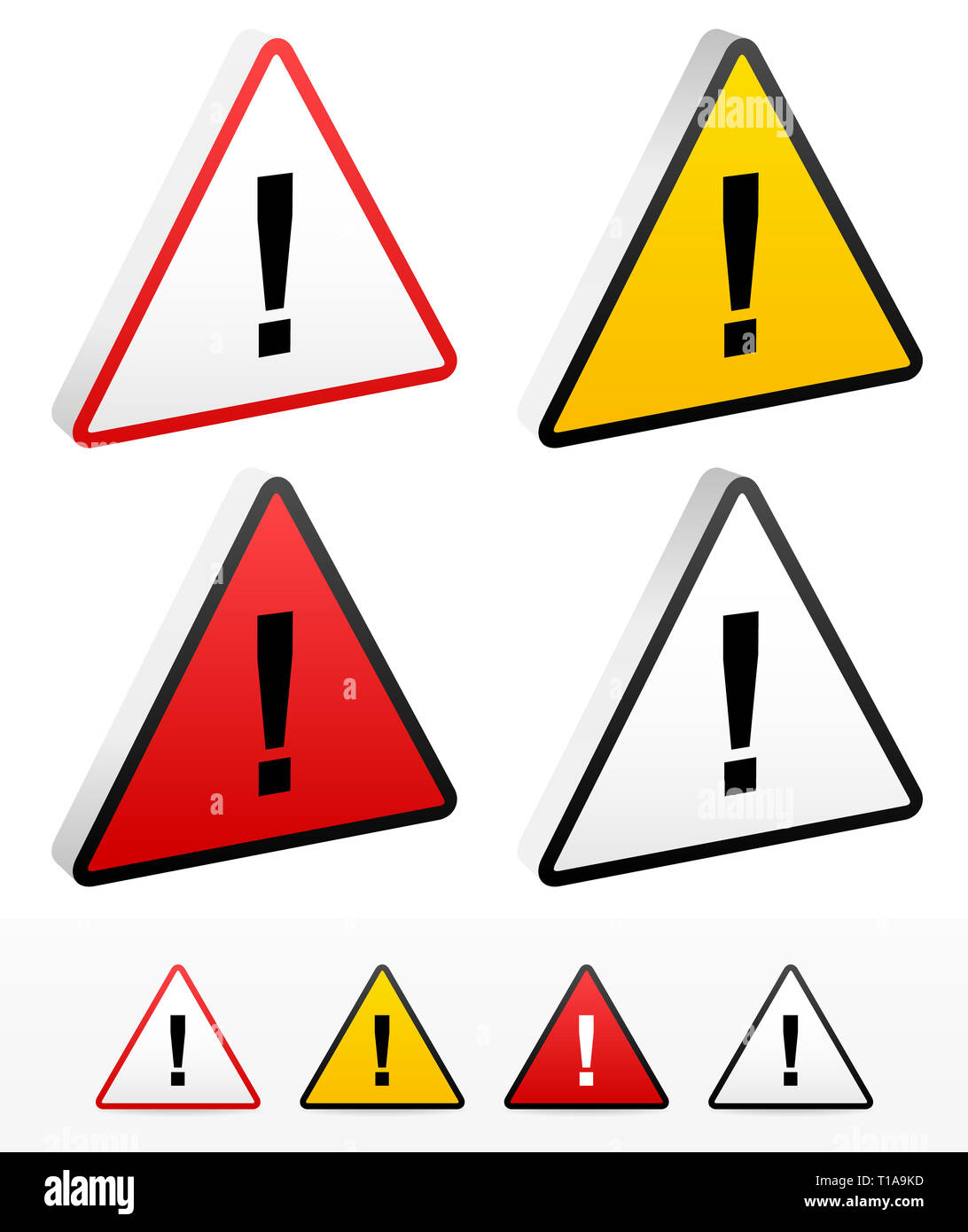 Triangular signs with exclmation marks. - Stock Image