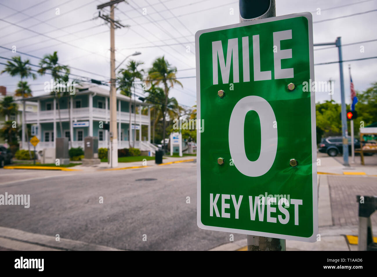 Mile marker 0 zero sign marking the start of us route 1 the