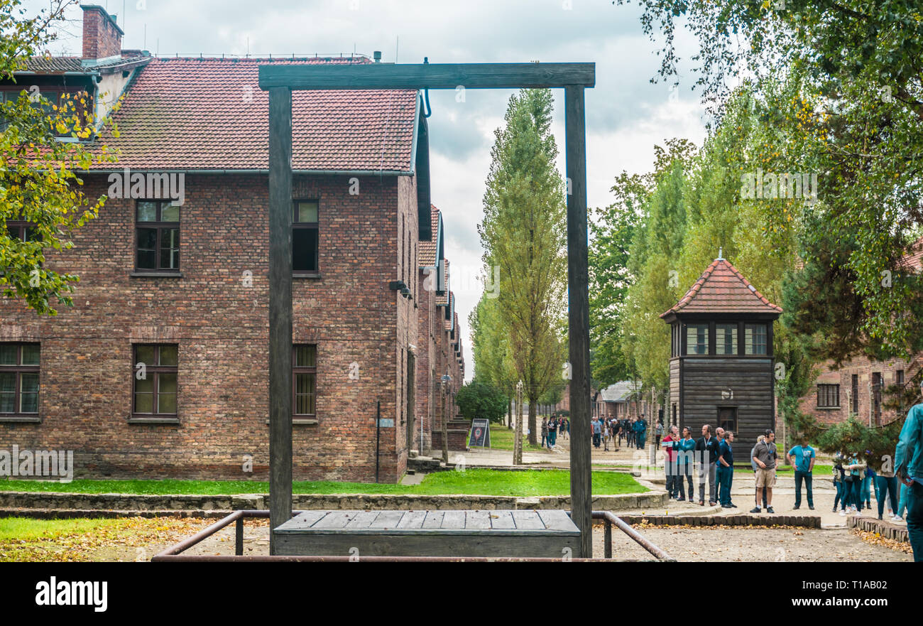 Oswiencim, Poland - September 21, 2019: Execution platform where was hanged in 1947 Rudolf Hoss, the commander of the concentration camp of Auschwitz - Stock Image