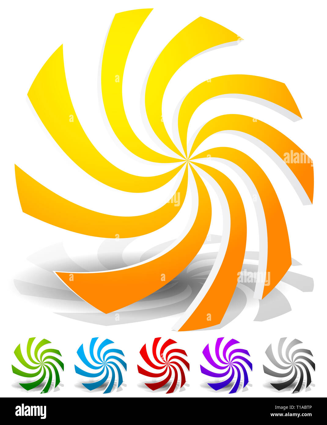 Set of colorful abstract elements. Whirling, swirling, rotating shapes. Set of 6 colors, yellow-orange, blue, red, purple and gray. - Stock Image