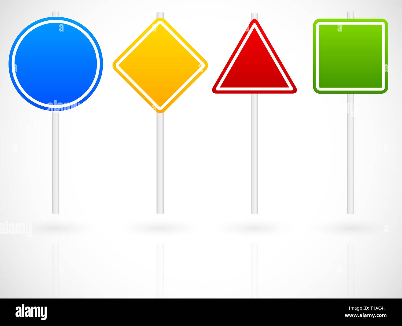 Eps 10 Vector Illustration of Cartoon Like Set of Various Road Signs. Circle, square, triangle, square roadsigns in blue, yellow, red and green on met - Stock Image
