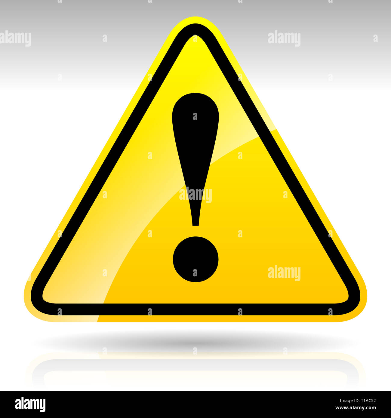Yellow Exclamation Mark Sign - Caution, Warning Attention Sign, Eps 10 Vector Illustration - Stock Image