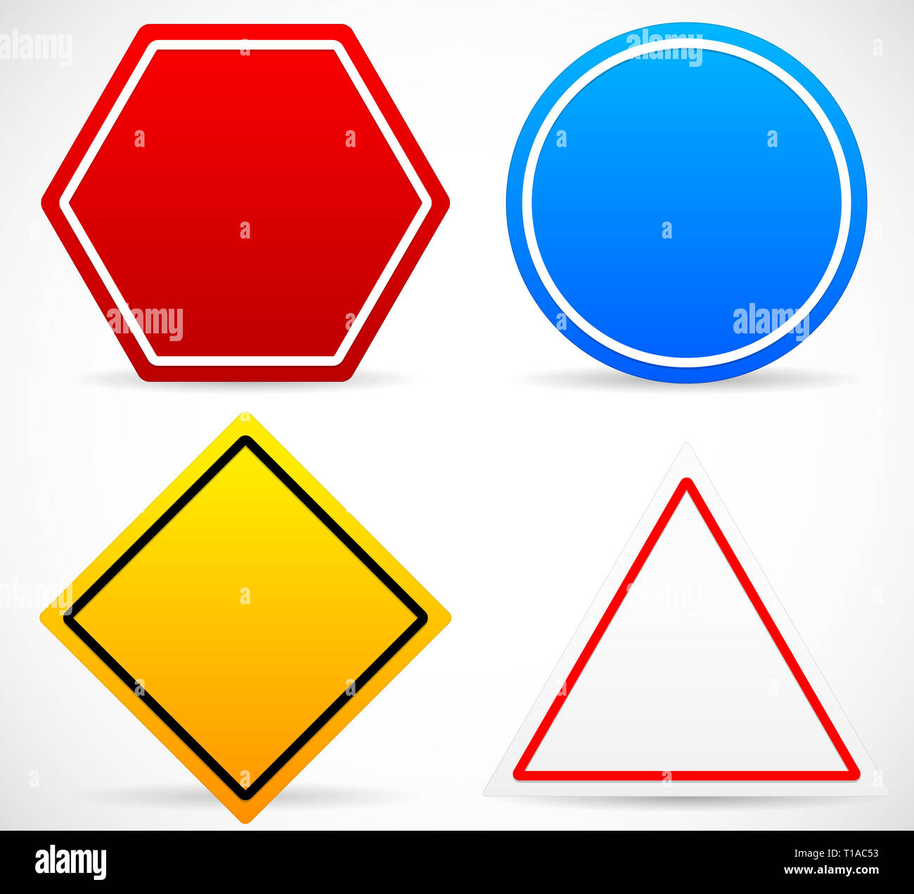 Eps 10 Vector Illustration of Road Sign Shapes. Circle, Square, Triangle, Hexagon Road Signs. Red, Blue, Yellow, and White in colors. - Stock Image