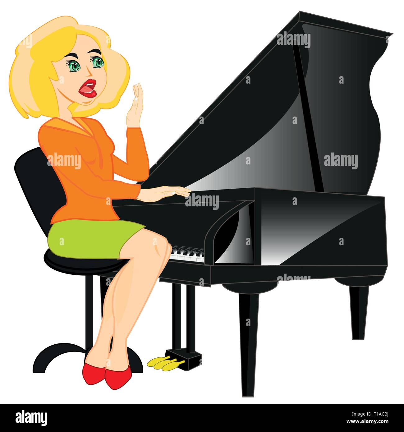 Making look younger girl plays on music instrument pianoforte - Stock Vector