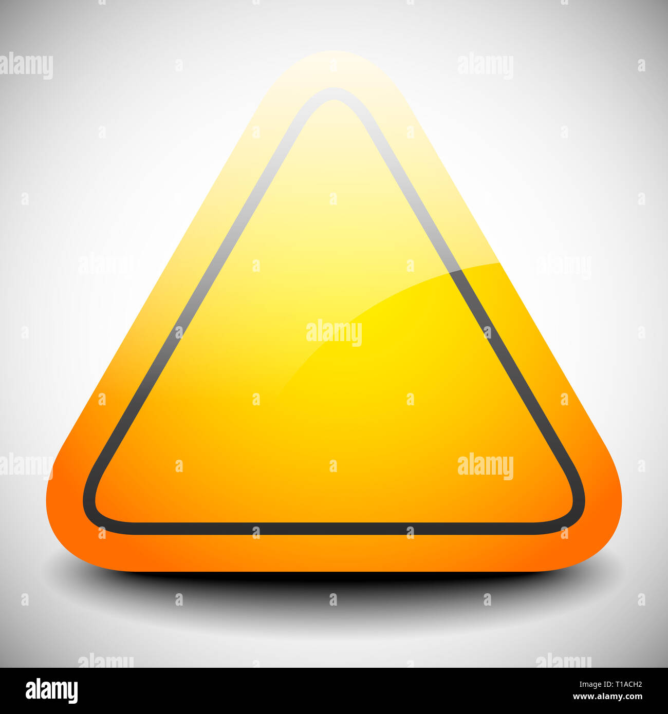 Empty triangular, orange road sign with highlight. Vector - Stock Image