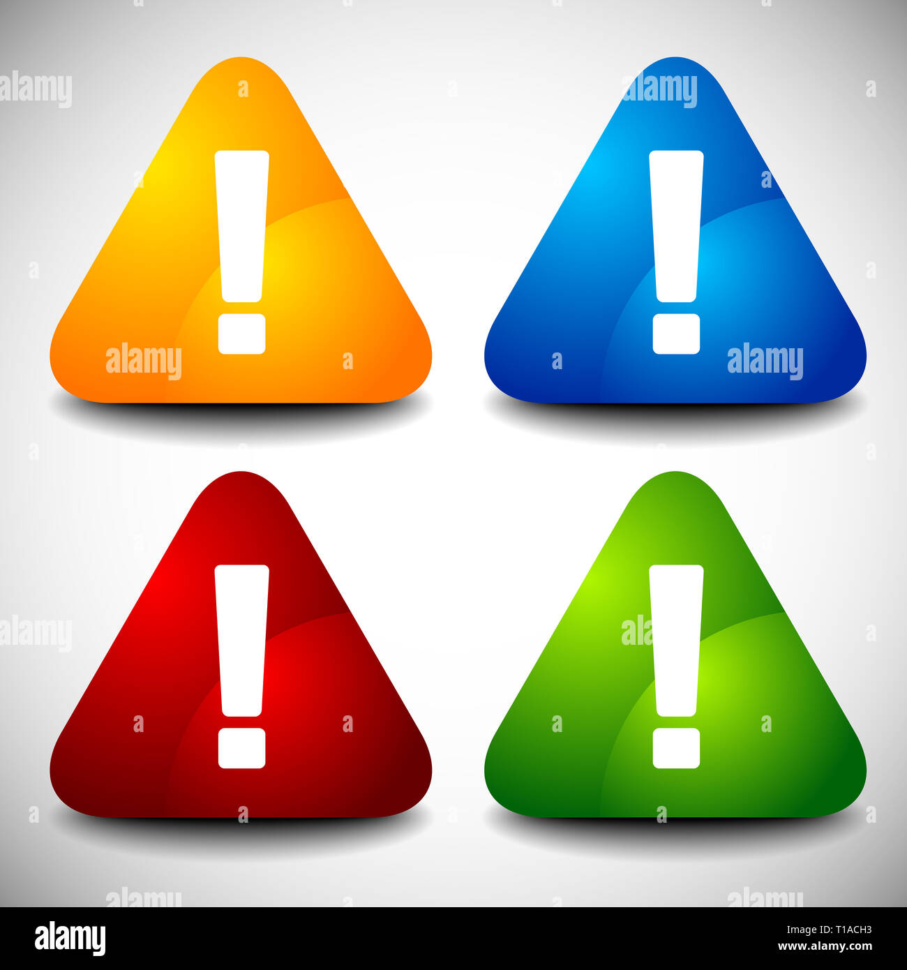 Set of triangular signs with exclamation marks. Vector. - Stock Image