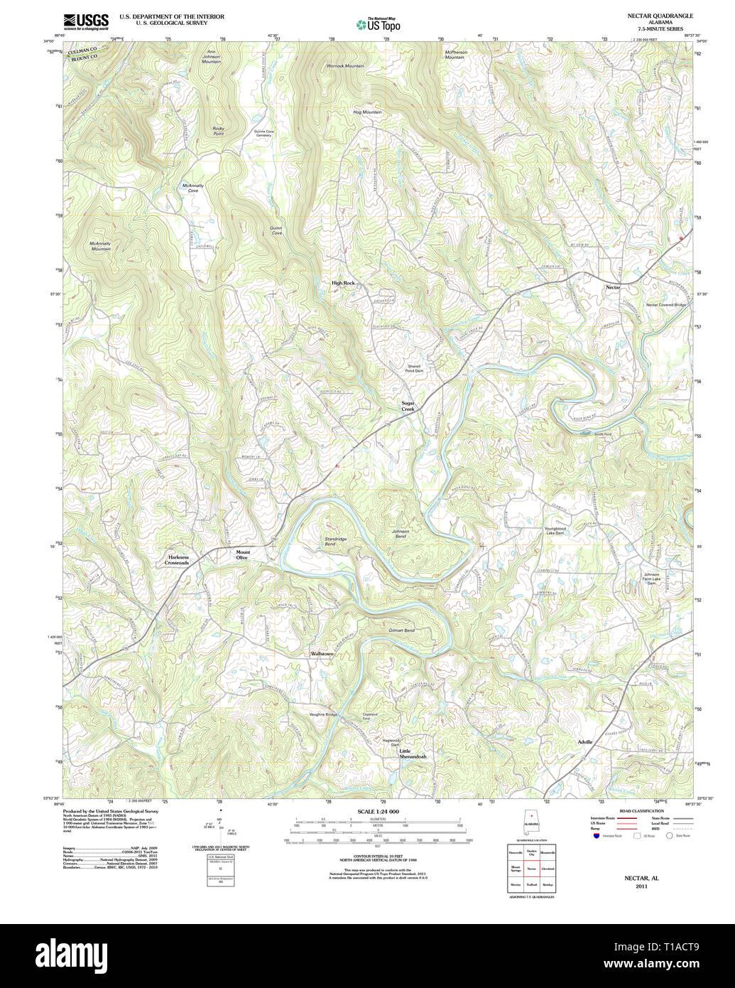 USGS TOPO Map Alabama AL Nectar 20111206 TM Stock Photo