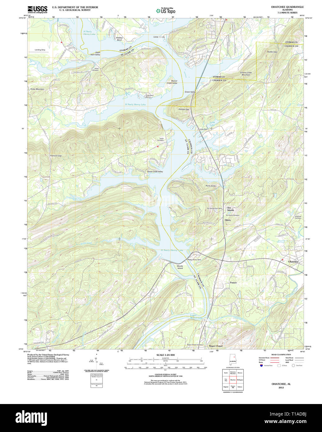 USGS TOPO Map Alabama AL Ohatchee 20120110 TM Stock Photo