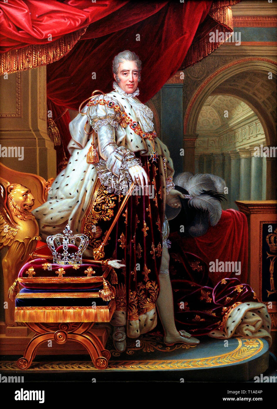 Portrait of King Charles X of France in his coronation robes. Charles X (1757 - 1836), King of France, after Gerard. Henry Bone, 1829 - Stock Image