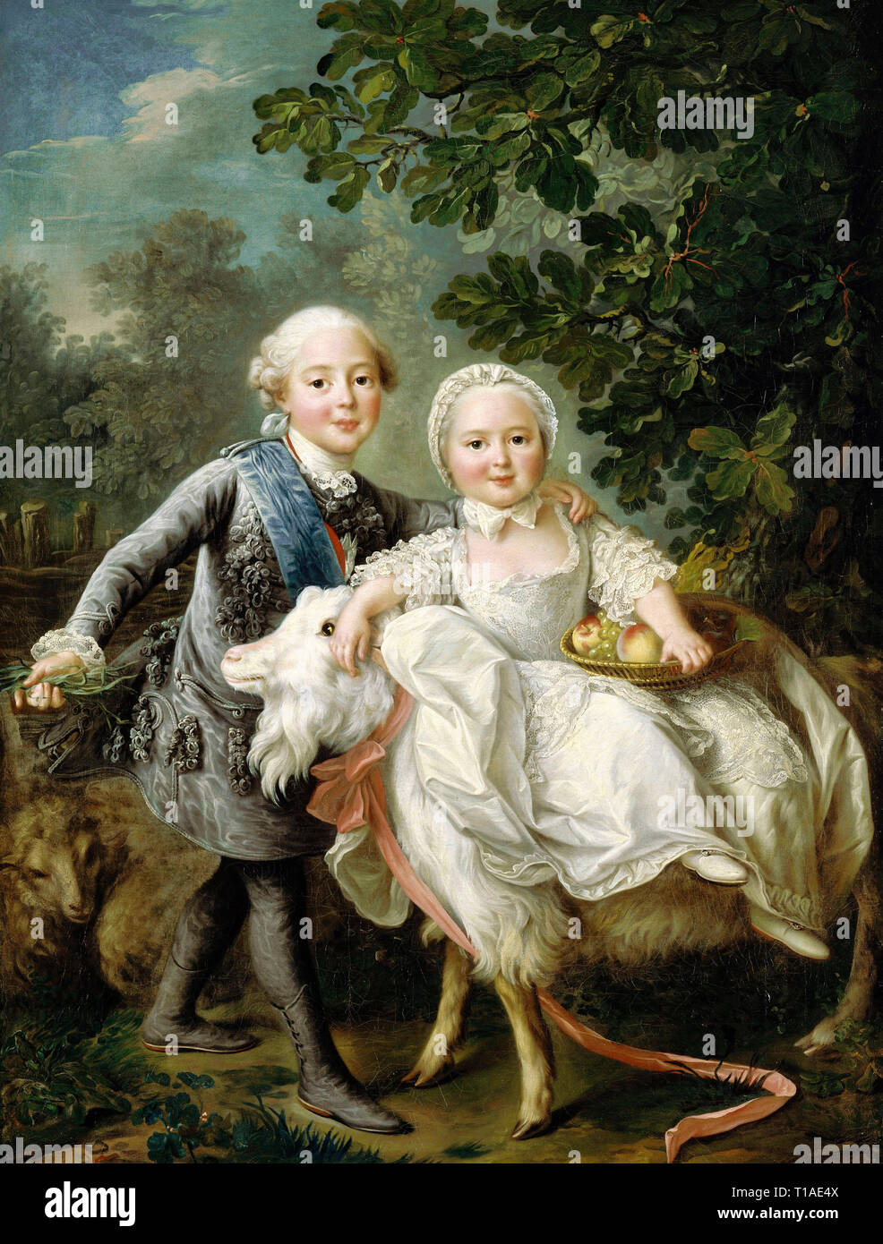The Count of Artois (later King Charles X) and his sister Clotilde - François-Hubert Drouais, 1763 - Stock Image