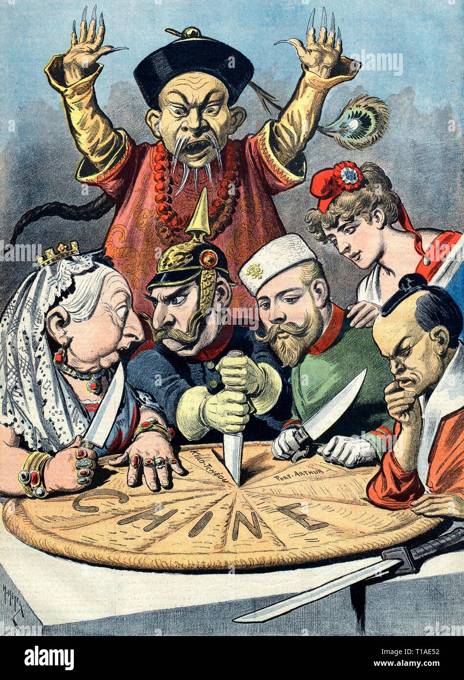"China -- the cake of kings and... of emperors"" (a French pun on king cake and kings and emperors wishing to ""consume"" China). French political cartoon from 1898. A pastry represents ""Chine"" (French for China) and is being divided between caricatures of Queen Victoria of the United Kingdom, William II of Germany (who is squabbling with Queen Victoria over a borderland piece, whilst thrusting a knife into the pie to signify aggressive German intentions), Nicholas II of Russia, who is eyeing a particular piece, the French Marianne (who is diplomatically shown as not participating in the carving T Stock Photo"