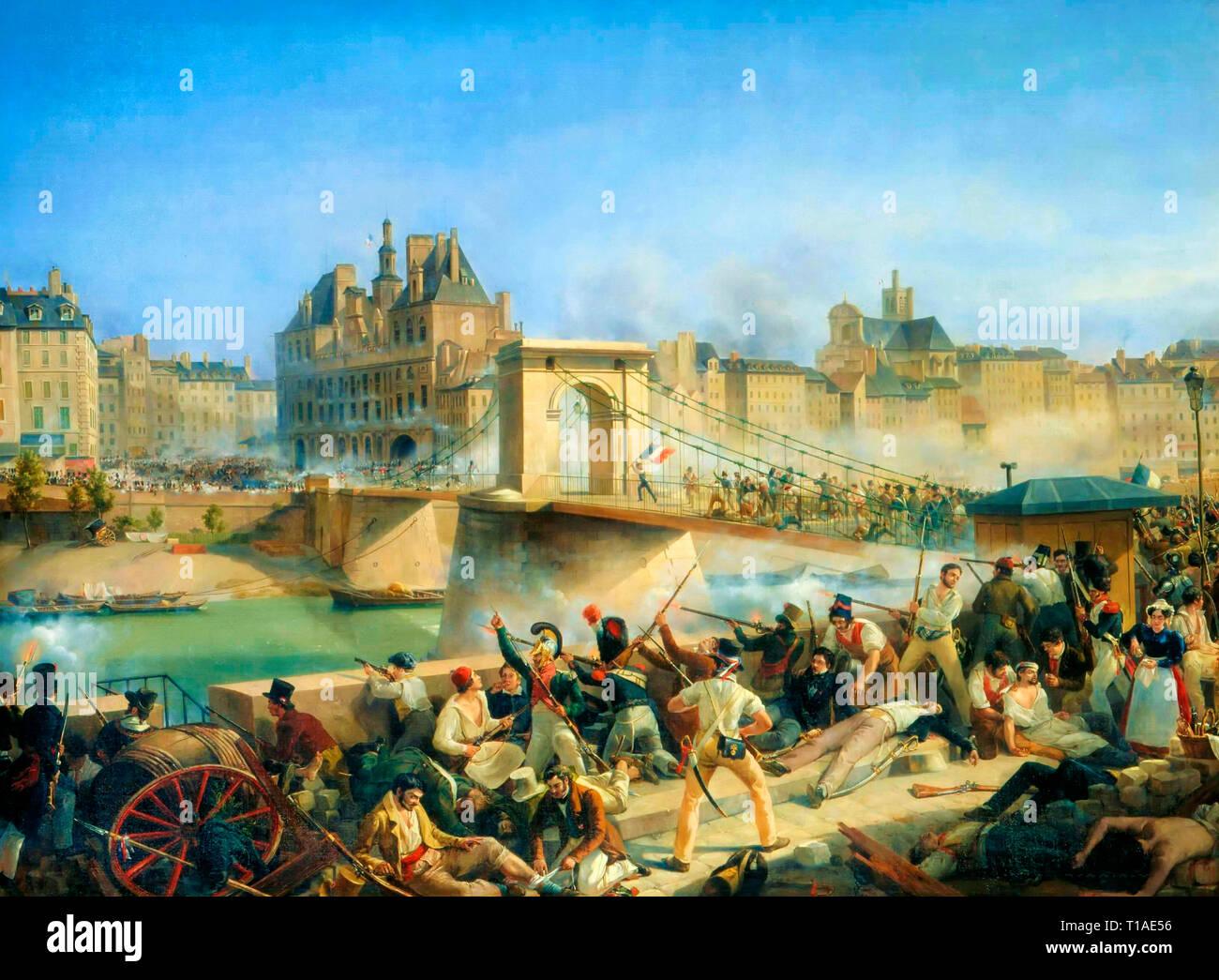 Prise de l'Hôtel de ville - le Pont d'Arcole - Taken from City Hall - Pont d'Arcole - Amédée Bourgeois - Stock Image