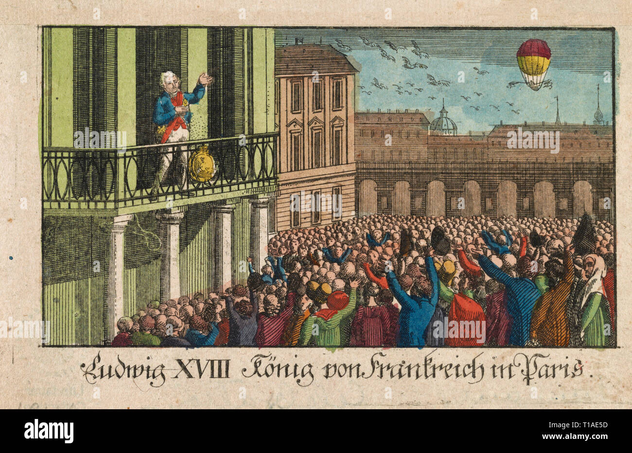 Print shows Madame Madeleine Sophie Blanchard in balloon above Pont Neuf, Paris, May 3, 1814, waving a flag in each hand to greet King Louis XVIII and the Queen on their return to Paris following the abdication of Napoleon. The King and Queen are seated in a carriage drawn by eight horses, escorted by cavalrymen. - Stock Image
